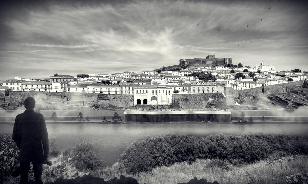 ryc.3. projekt dyplomowy; atrakcyjny widok na wzgórze i nabrzeże River Site Gallery; Portugalia, Mertola;