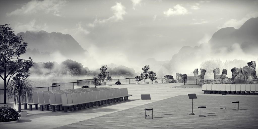 ryc. 2. projekt dyplomowy; River Site Gallery- scena dla lokalnych artystów; Portugalia, Mertola;
